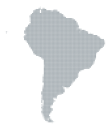 Silhouette of South America. Map with gray halftone dots, varying in size and spacing. Dotted outline and surface under Robinson projection. Isolated ilustration on white background. Vector.