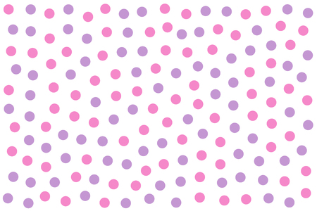 Pink and purple dots as background made of randomly placed colored little spots. Dotted area. Wallpaper or backdrop. Isolated illustration on white background. Vector.