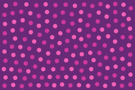 Pink dots over purple as background made of randomly placed colored little spots. Dotted area. Wallpaper or backdrop. Isolated illustration. Vector.