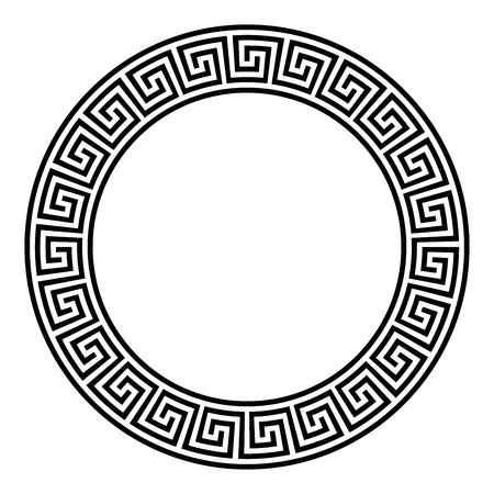 Circle frame with seamless disconnected meander pattern. Meandros, a decorative border, constructed from lines, shaped into a repeated motif. Greek fret or Greek key. Illustration over white. Vector.