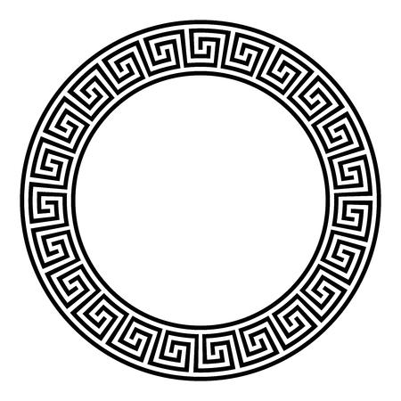 Cornice circolare con motivo a meandro scollegato senza soluzione di continuità. Meandros, un bordo decorativo, costruito da linee, modellato in un motivo ripetuto. Tasto greco o chiave greca. Illustrazione su bianco. Vettore.