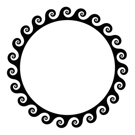 Black seamless spirals frame made of a running dog pattern. Seamless meander design. Waves shaped into repeated motif. Scroll pattern. Decorative border. Vitruvian wave or Vitruvian scroll. Vector. Çizim