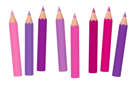 Pink, purple, magenta and violet girl power crayons - short pencils loosely arranged - isolated vector illustration on white background.