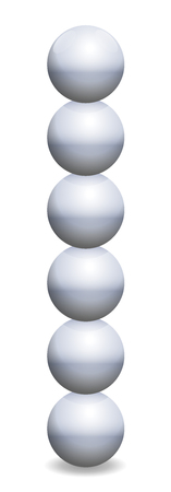 Stacked spheres tower. Six iron balls in unstable balance. Isolated vector illustration on white background. Illustration