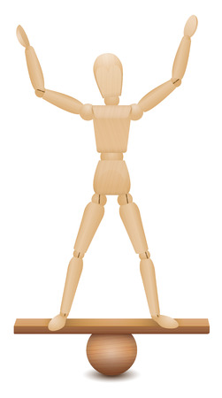 Safe position. Balancing act of a wooden figure standing with a secure and confident feeling and poise on an unstable construction. Vector illustration on white background.