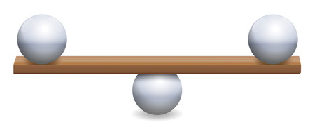 Unstable balance with three iron balls and a wooden board. Symbolic for instability, uncertainty, insecurity or a delicate balancing act. Isolated vector illustration on white background.
