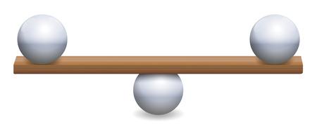 Équilibre instable avec trois boules de fer et une planche de bois. Symbolique de l'instabilité, de l'incertitude, de l'insécurité ou d'un équilibre délicat. Illustration vectorielle isolé sur fond blanc.