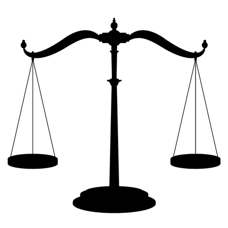 Icona della bilancia bilancia - simbolo del dispositivo di pesatura con due pentole appese perfettamente bilanciate - illustrazione vettoriale isolato nero su sfondo bianco.