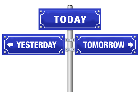 YESTERDAY, TODAY, TOMORROW, written on three blue signposts - symbolic for living in the here and now, not in the past or future - isolated vector illustration on white background.