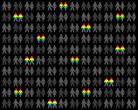 LGBT background. Rainbow flag colored gays and lesbians among hetero love couples.
