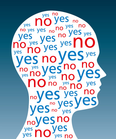 The words YES and NO written in a silhouette of a head. A symbol for indecision and decision weakness. The word yes in blue and no in red color. Also sign for conscience conflict. Illustration. Vector