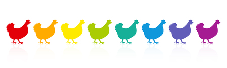 Colorful chicken parade. Rainbow spectrum hens. Colored fowls in single file. Comic illustration on white background. Illustration