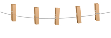Five clothes pins on a clothes line rope - wooden pegs holding nothing.