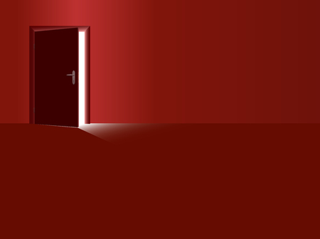 Red room and half open door with incidence of light coming in. Vector illustration.