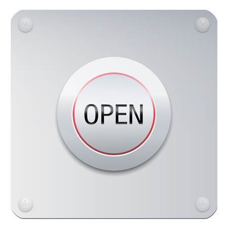 Open button on a chrome panel to unlock doors and windows, but also symbolic for opening your mind, heart, soul, eyes, ears.