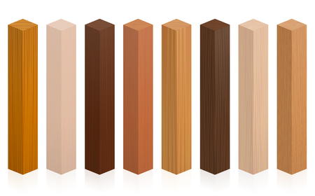 Wood samples. Wooden blocks, posts or sticks with different textures, colors, glazes, from various trees to choose. Isolated vector illustration on white background. Illustration