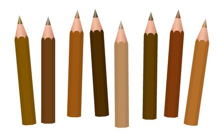 Brown pencils - different shades of brown like cinnamon, brunette, mocha, umber, chocolate, caramel, peanut, coffee, light, medium or dark brown - loosely arranged - vector on white.