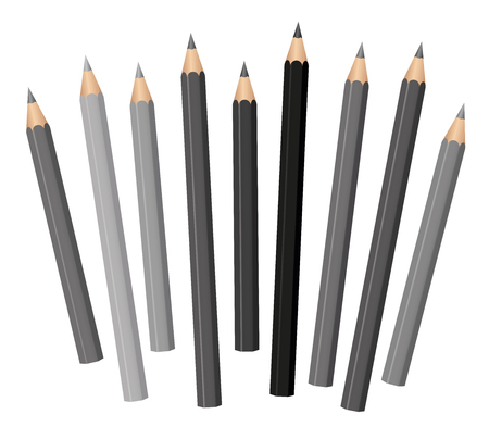 Gray pencils - different shades and lengths - loosely arranged - gray tones from light gray to deep black. Vector on white. Illustration