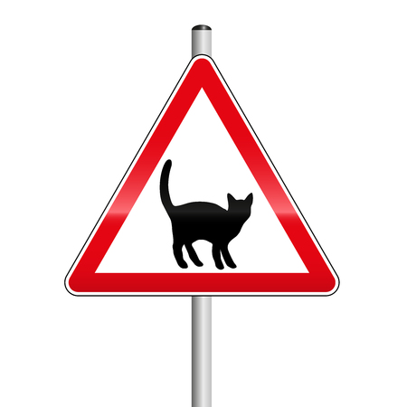 Beware of the cats on the street. Red triangle caution road sign.