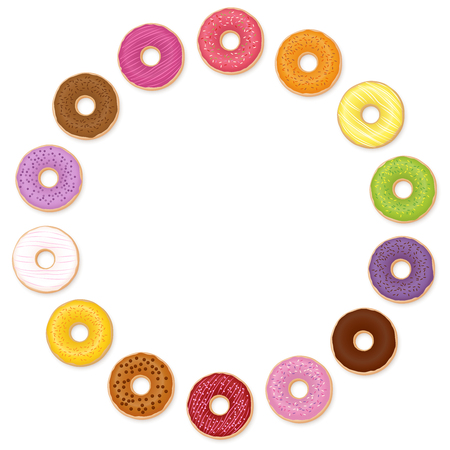 Donuts circle. Many different tastes. Isolated vector illustration on white background. Illustration