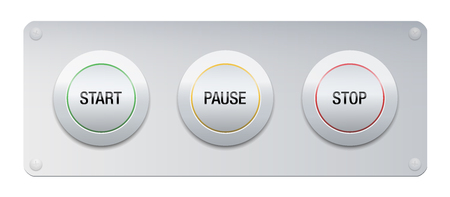 Start, pause, stop button on a metallic panel for instruments, machines, gadgets. Symbolic for work routine, business life, projects, lifestyle, relationships and many other issues or technology.