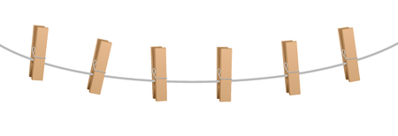 Six clothes pins on a clothes line rope - wooden pegs holding nothing. Illustration