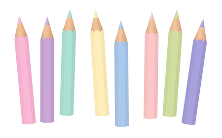 Pastel colors. Soft colored baby crayons. Short pencils loosely arranged. Isolated vector illustration on white background. Illustration