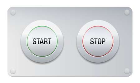 Start and stop button on a chrome surface panel for instruments, machines, gadgets. Illustration