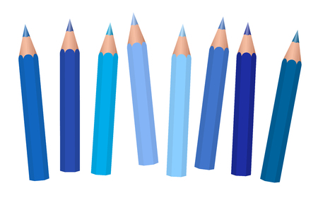 Blue crayons - short pencils loosely arranged, different blues like azure, aqua, sky, royal, midnight, cadet, navy, dark. medium or light blue. Isolated vector on white background. 矢量图像