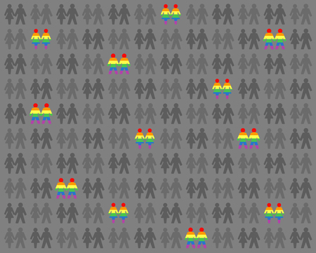 Gay and lesbian love couples. Rainbow colored gays and lesbians among gray people.