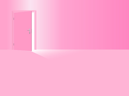 Girls nursery. Pink room with half open door to welcome your daughter, the baby girl, the little sister. Vector illustration. Illustration