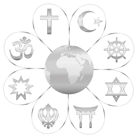World religions united on a silver flower with planet earth in center. Signs of major religious groups and religions. Christianity, Islam, Hinduism, Buddhism, Taoism, Shinto, Sikhism and Judaism.
