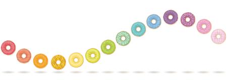 Donut wave. Colorful, tasty horizontal motion. Isolated vector illustration on white background.