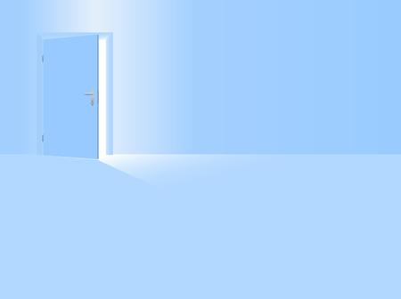 Jungen Kindergarten. Babyblaues Zimmer mit halboffener Tür zur Begrüßung Ihres Sohnes, des Jungen, des kleinen Bruders. Vektorillustration. Vektorgrafik