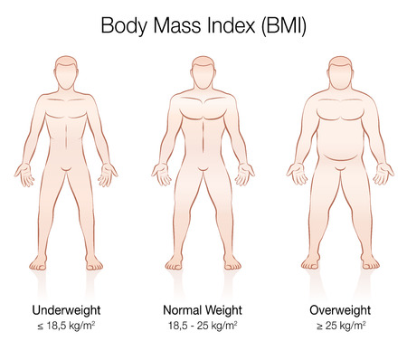 Body Mass Index BMI. Underweight, normal weight and overweight male body. Isolated vector illustration of three men with different anatomy.