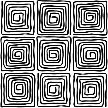 Nine black square spirals. Seamless pattern. Loose, irregular and hand drawn spirals. Tile and template for a motif or to create an ornament. Isolated illustration on white background. Vector. Illustration