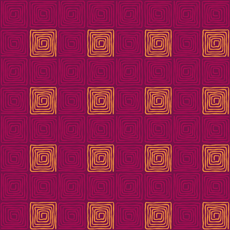 Purple colored seamless square spiral pattern. Loose, irregular and hand drawn spirals. Tile and template for a motif or to create an ornament. Isolated illustration on purple background. Vector.