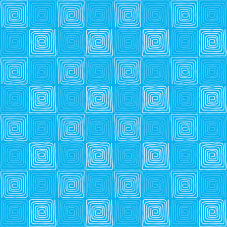 Blue colored seamless square spiral pattern. Loose, irregular and hand drawn spirals. Tile and template for a motif or to create an ornament. Isolated illustration on blue background. Vector. Illustration