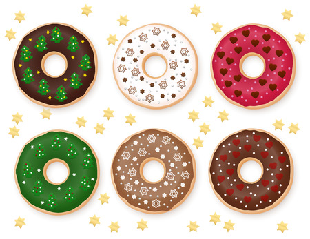 Donuts, Christmas special collection. Six festive decorated donuts. Yummy!