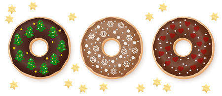 Christmas donuts chocolate set decorated with sweet festive fondant - stars, christmas trees, snowflakes, hearts. Three types of chocolate icing.