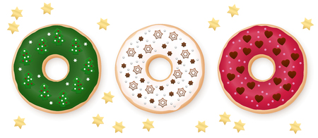 Christmas donuts set. Green, white and red donut decorated with sweet festive fondant - chocolate, marzipan and sugar stars, fir trees, snowflakes and hearts. Isolated vector on white.