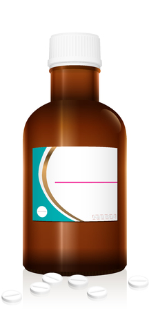 Dummy medicine bottle. Unlabeled vial with tablets. Pharmaceutical brown glass with blank label and closed white plastic screw cap. Isolated vector on white.