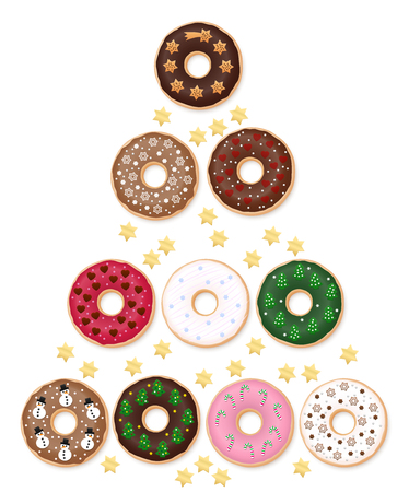 Donuts Christmas Tree. Special collection with ten festive decorated donuts. Merry Christmas! Illustration