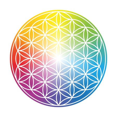 Flower of Life. Colorful circular rainbow gradient symbol on white background.
