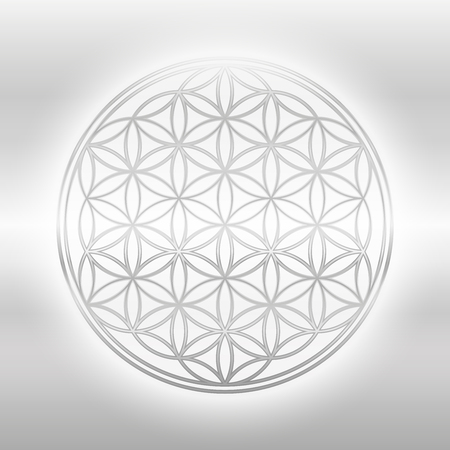 Flower of Life, silver glance symbol on silvery background.