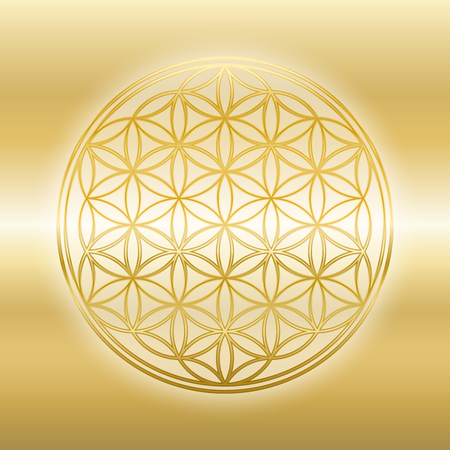 Golden Flower of Life, gleaming, glossy, gold symbol on golden background. Illustration