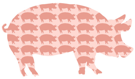 Pig Pork Pattern. Silhouettes of pigs background. Isolated vector on white background. Illustration