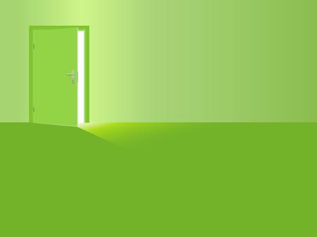 Green room with open door, sunlight coming in.