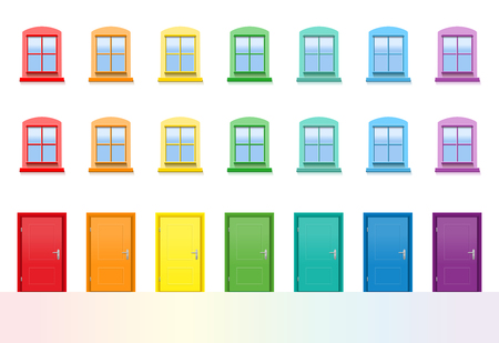 Colorful doors and windows. Rainbow colored house front, happy neighbors. Isolated vector illustration on white background.