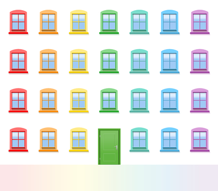 Colorful house front with green entrance door and many colored windows. Isolated vector illustration on white background.